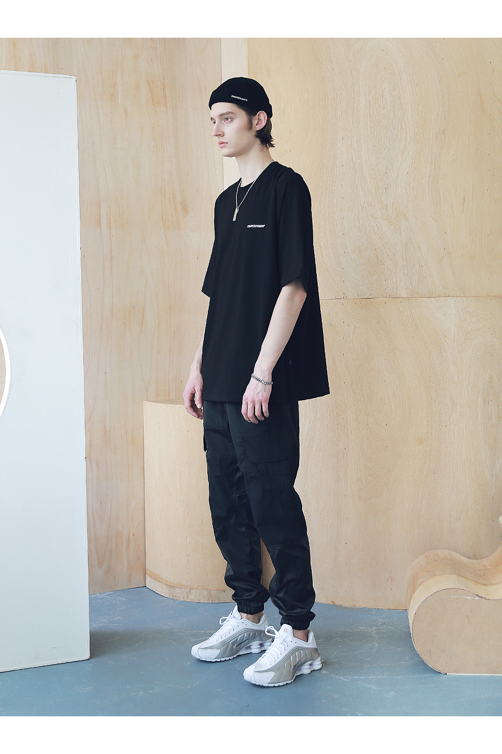 매스노운(MASSNOUN) HOT-LINE OVERSIZED T-SHIRTS MSNTS008-BK