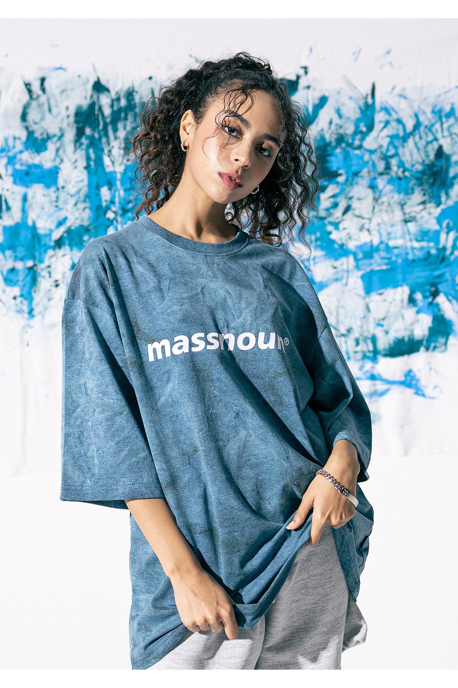 매스노운(MASSNOUN) SL 로고 타이다이 오버사이즈 반팔티 MSNTS009-MR