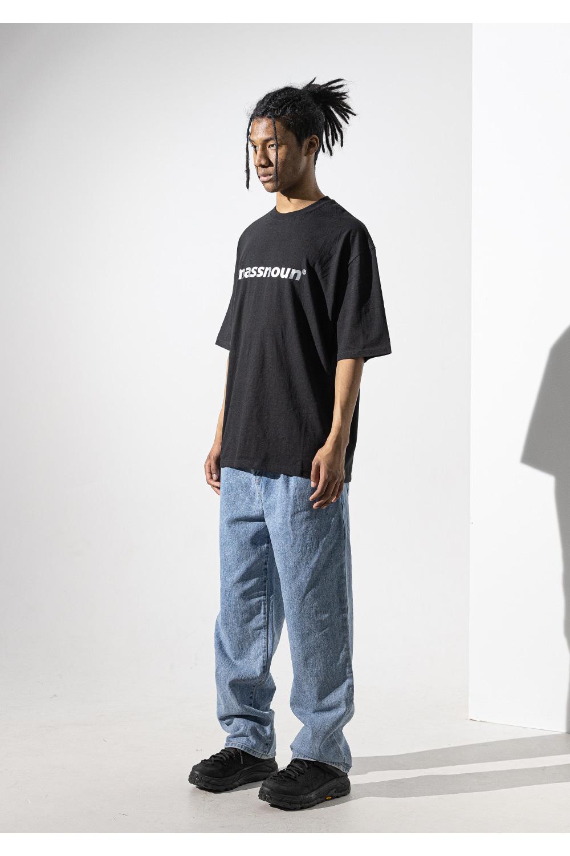 매스노운(MASSNOUN) 다크문 스카치 오버핏 반팔 티셔츠 MUVTS011-BK