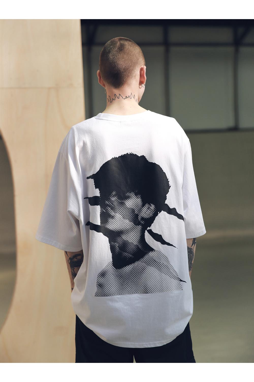 매스노운(MASSNOUN) SB 스크래치 오버사이즈 티셔츠 반팔티 MSNTS002-WT