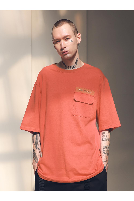 매스노운(MASSNOUN) SL 로고 포켓 오버사이즈 티셔츠 반팔티 MSNTS003-CR
