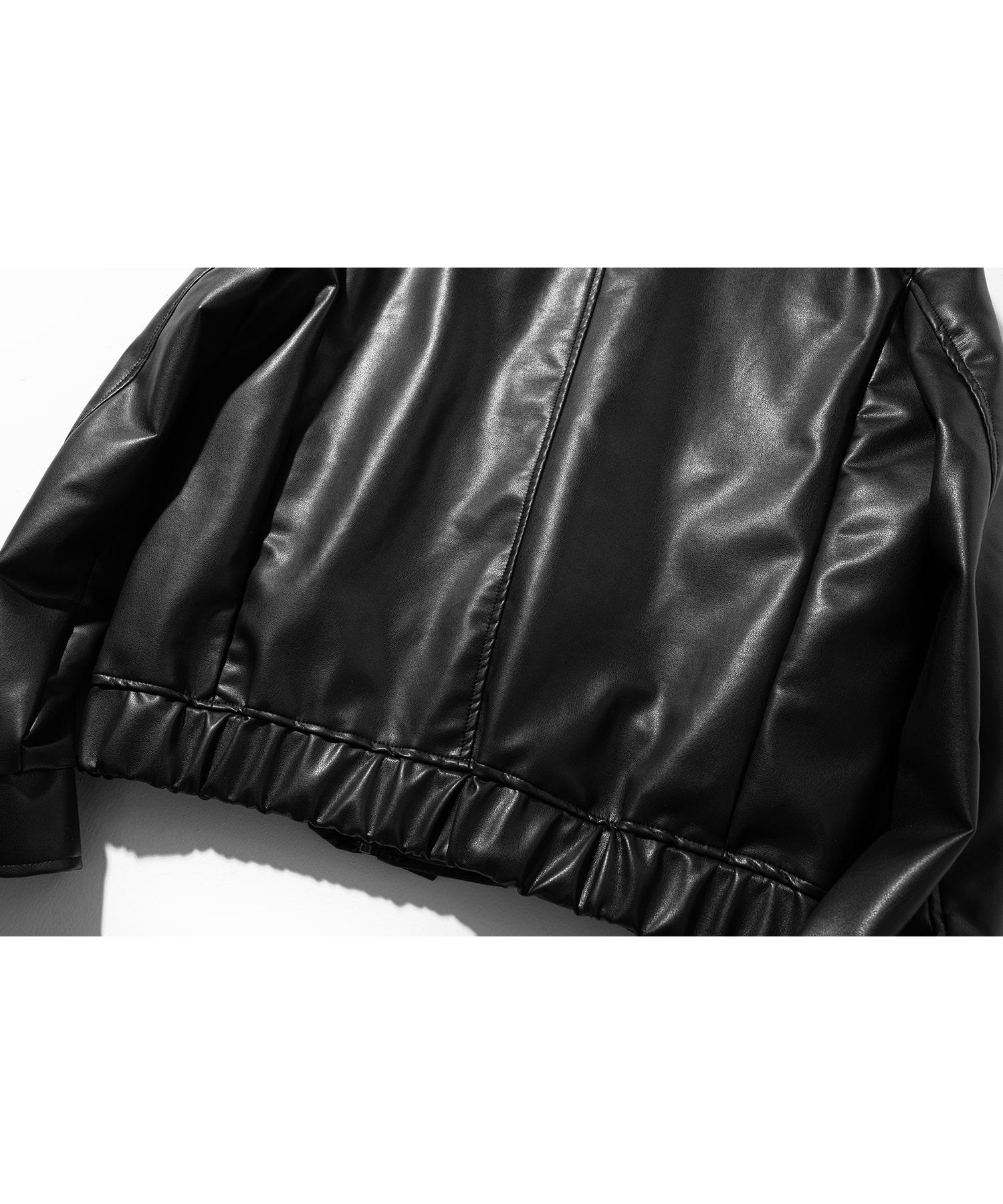 매스노운(MASSNOUN) 아티피셜 레더 자켓 MSOLJ001-BK